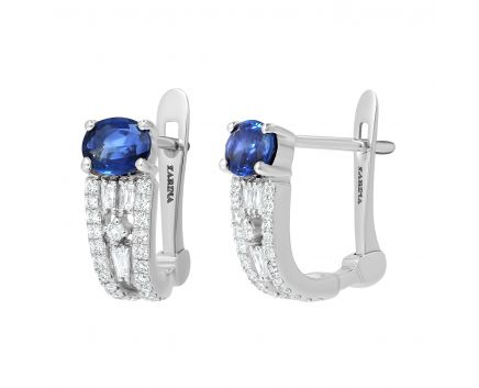 Сережки з діамантами та сапфірами Глибина