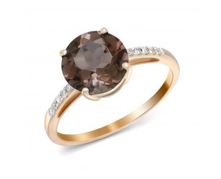 Каблучка з діамантами та димчатим кварцем в рожевому золоті