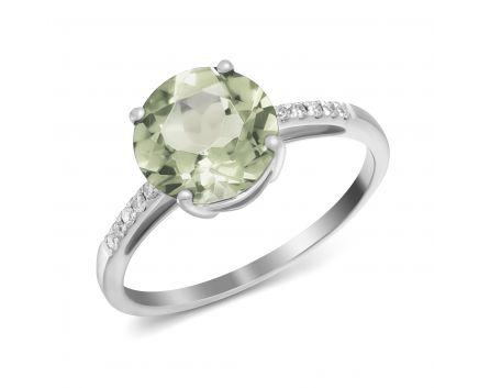 Каблучка з діамантами та зеленим кварцем в білому золоті