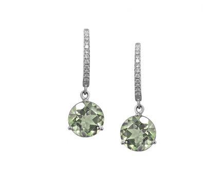 Сережки у білому золоті з зеленим кварцем та діамантами