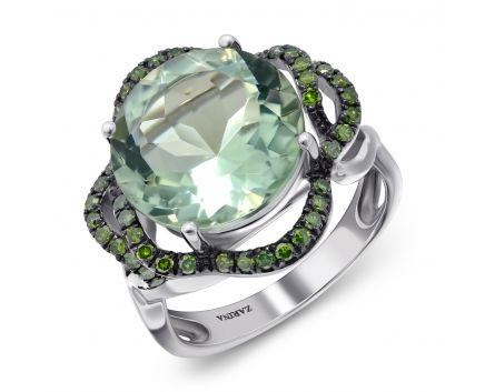 Каблучка з діамантами та зеленим кварцем