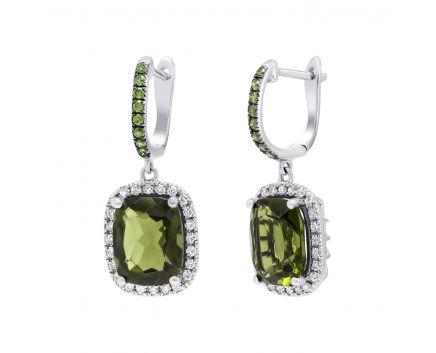 Сережки з діамантами та молдавітом