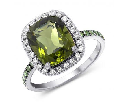 Каблучка з діамантами та молдавітом