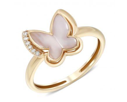 Каблучка Перламутровий метелик з діамантами