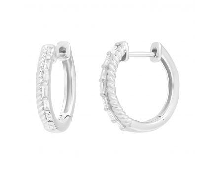 Сережки з діамантами у білому золоті Грета