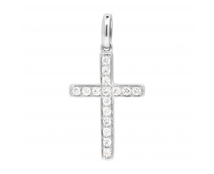 Підвіс-хрестик з діамантами в білому золоті ZARINA