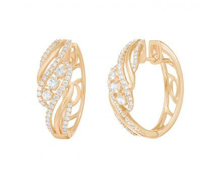 Сережки Ажур з діамантами у рожевому золоті