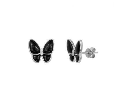 Сережки Метелики з діамантами та оніксом
