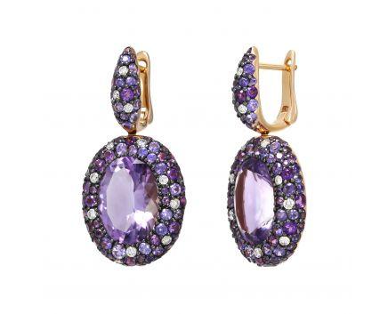 Сережки з діамантами, аметистами та фіолетовим сапфірами