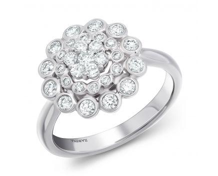 Каблучка Квітка в білому золоті з діамантами
