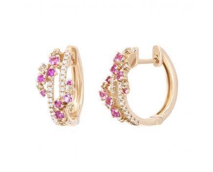 Сережки з рожевими сапфірами та діамантами Романтика