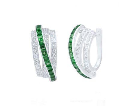 Сережки з діамантами та смарагдами ZARINA