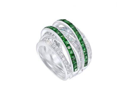 Кольцо из белого золота с бриллиантами и изумрудами ZARINA