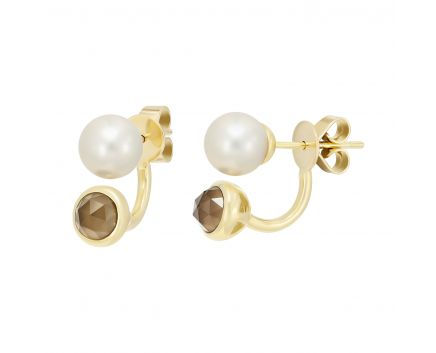 Сережки з перлами та димчатим кварцем