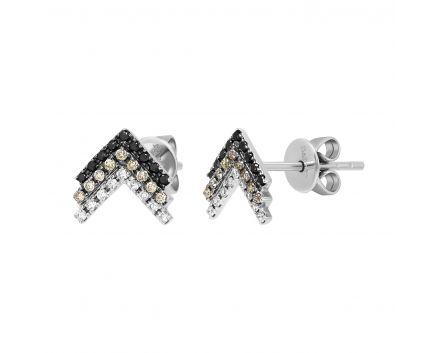 Сережки з білого золота з білими, коньячними та чорними діамантами