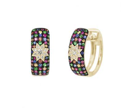 Сережки з діамантами та мультисапфірами ZIRKA жовте золото