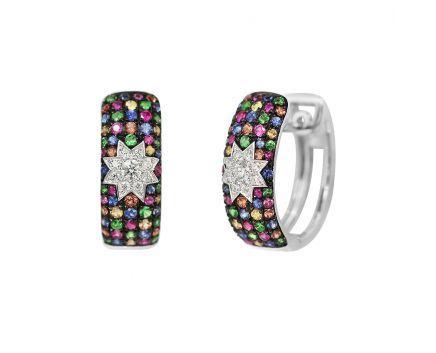 Сережки з діамантами та мультисапфірами ZIRKA