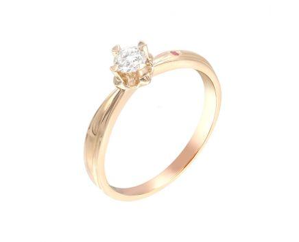Каблучка з рожевого золота з діамантом та рубіном ZARINA Почуття