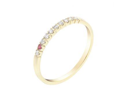 Золота каблучка з діамантовою доріжкою та рубіном ZARINA Особлива