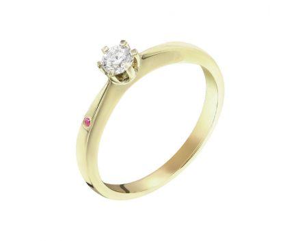 Каблучка з жовтого золота з діамантом та рубіном ZARINA