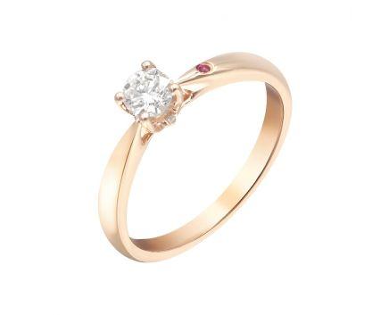 Каблучка з рожевого золота з діамантом та рубіном ZARINA