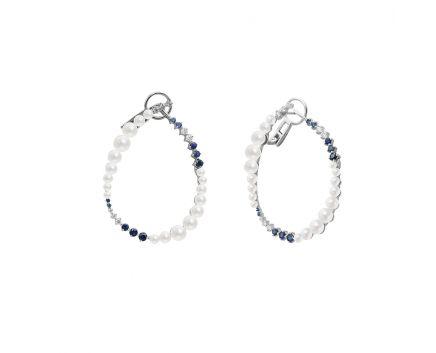 Сережки з білого золота з діамантами, сапфірами та перлами ZARINA Морозна симфонія