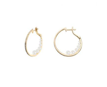 Сережки з рожевого золота з діамантами та перлами  ZARINA Вертеп