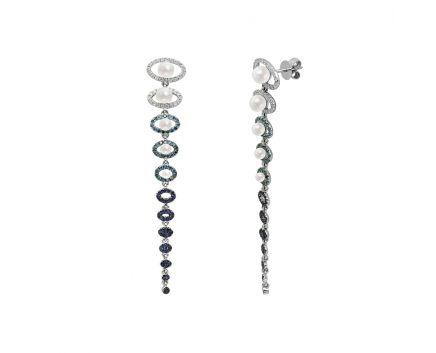 Сережки з білого золота з діамантами, сапфірами та перлами Опівнічний спектр