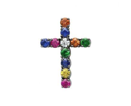 Підвіс-хрест з білого золота с діамантами, сапфірами та цаворитами