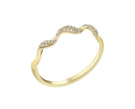 Каблучка з діамантами у жовтому золоті Хвиля