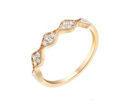 Каблучка з рожевого золота з діамантами
