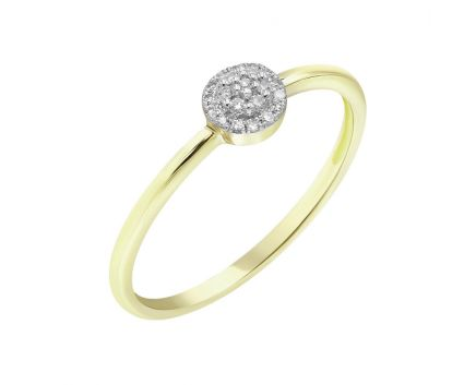 Каблучка з жовтого золота з діамантами