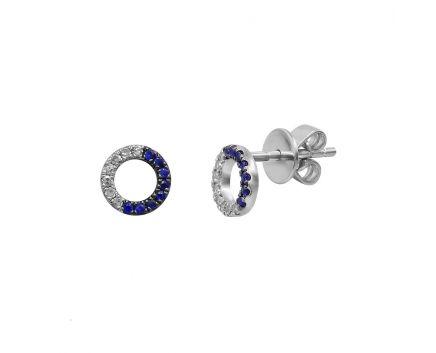 Сережки з білого золота з діамантами та сапфірами