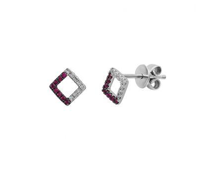 Сережки з білого золота з діамантами та рубінами