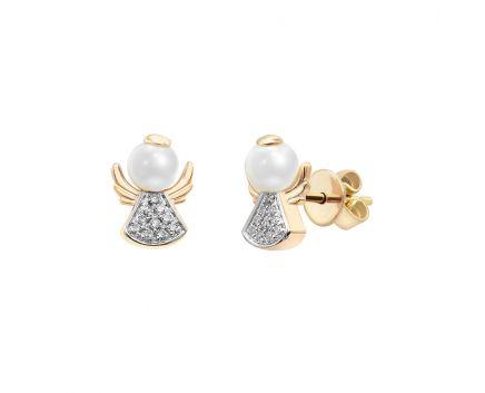 Сережки в рожевому золоті з діамантами та перлиною
