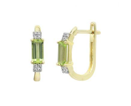 Сережки з жовтого золота з діамантами та хризолітами