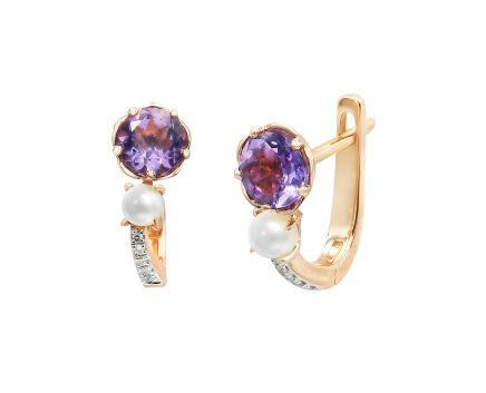 Сережки з рожевого золота з діамантами, аметистами та перлами