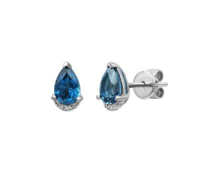 Сережки з білого золота з діамантами і топазами