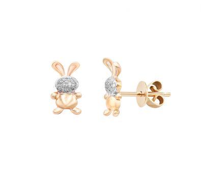 Сережки з рожевого золота з діамантами