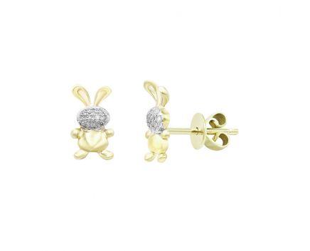 Сережки з жовтого золота з діамантами