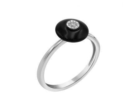 Кольцо из белого золота с бриллиантом и ониксом