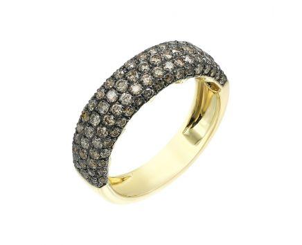 Каблучка з жовтого золота з діамантами ZARINA
