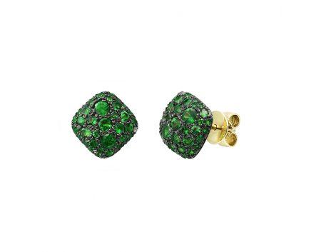 Сережки з жовтого золота з діамантами та цаворитами ZARINA