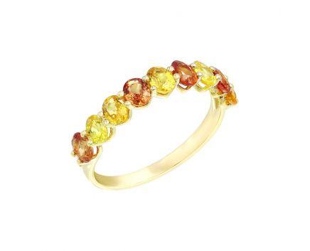Каблучка з жовтого золота з діамантами та сапфірами ZARINA