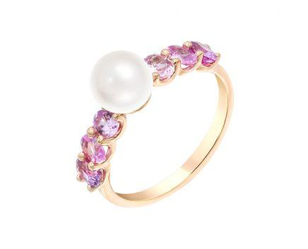 Каблучка з рожевого золота з діамантом, сапфірами та перлами ZARINA