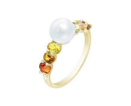 Каблучка з жовтого золота з діамантом, сапфірами та перлами ZARINA