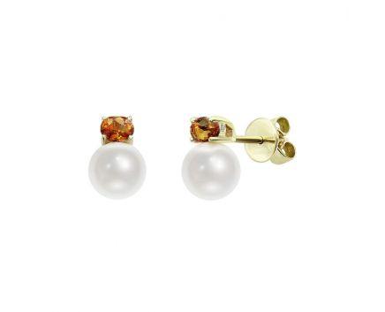 Сережки з жовтого золота з діамантами, сапфірами та перлами ZARINA