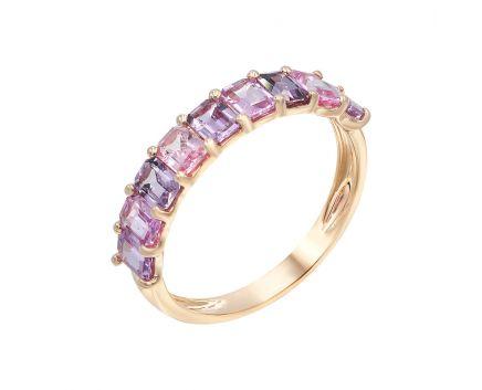 Каблучка з рожевого золота з діамантом та сапфірами ZARINA