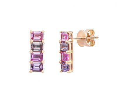 Сережки з рожевого золота з діамантами та сапфірами ZARINA