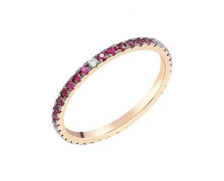 Каблучка з рожевого золота з діамантом та рубінами ZARINA